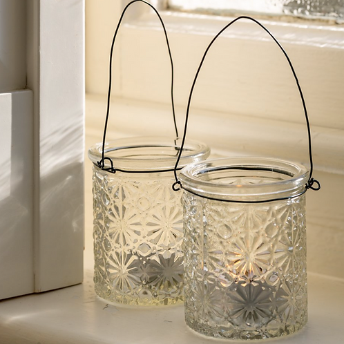 Hanging Etched Glass Tealight Holder, interiors at Source for the Goose, Devon