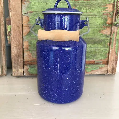 Blue enamelware milk can, shabby chic charm at Source for the Goose