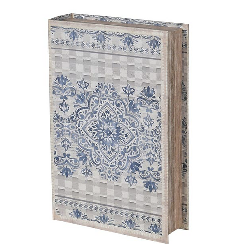 Blue and Grey Patterned Book Box, vintage style interiors at Source for the Goose, South Molton
