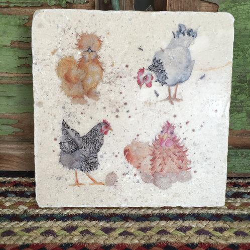 Kate of Kensington Chickens Square Marble Trivet, shabby chic charm to buy in Devon
