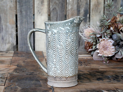 Pretty grey/green jug with lightly distressed finish, rustic interiors at Source for the Goose
