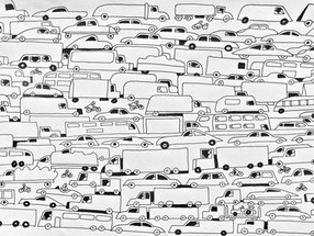 Motorway madness in black and white