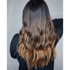 LLV tape in extensions highlights by Christel at Vibe Salon.