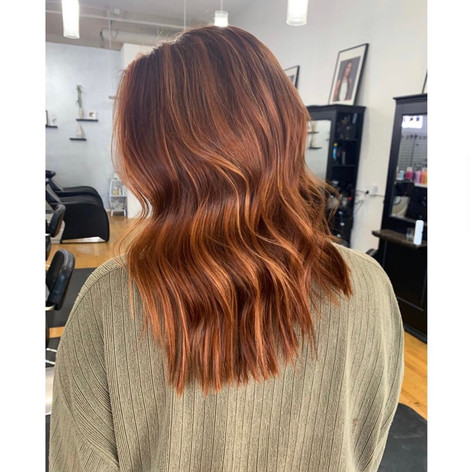Copper hair color by Frankie at Vibe Salon.
