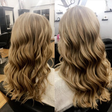 Soft curls and low lights by Tanja at Vibe Salon.