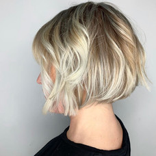 Cut, blonde colored, & styled by Amanda at Vibe Salon.