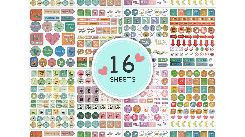 612677941946  Planner Stickers- 16 sheets