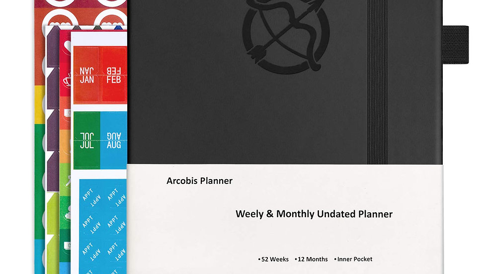 612677941717 Undated Weekly Planner Black