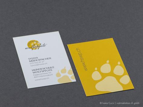 Visitenkarte für Hundeschule Wolfspfote