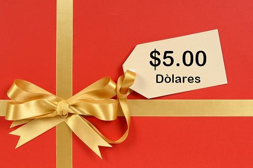 TARJETA DE REGALO VIA VENETO $5.00