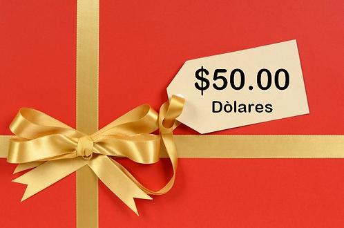 TARJETA DE REGALO VIA VENETO $50.00