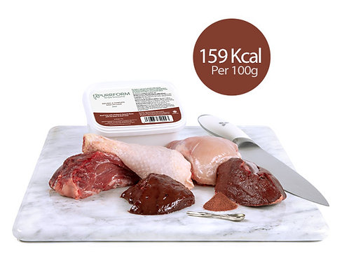 Minced Beef Trim with Chicken, Ground Bone, Ox Heart & Beef Liver (Adult)