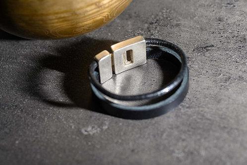 BRACELET CUIR Double 2 cm noir
