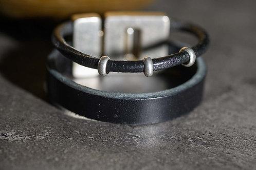 BRACELET CUIR DOUBLE ARGENT noir 2 cm