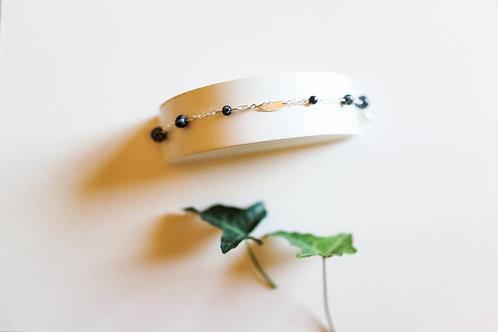 Bracelet Plume Obsidienne en Argent