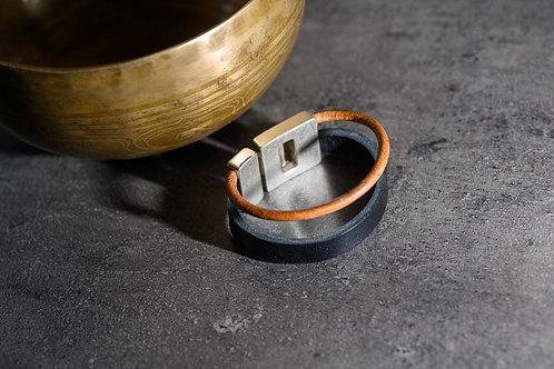 BRACELET CUIR Double 2 cm marron
