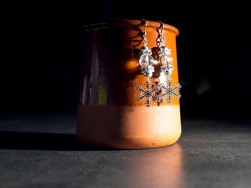 Boucle d'Oreille Flocon de roche Cristal en Argent