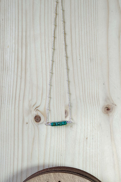 COLLIER TURQUOISE HEISHI ARGENT