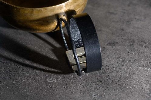 BRACELET CUIR Double 3 cm noir
