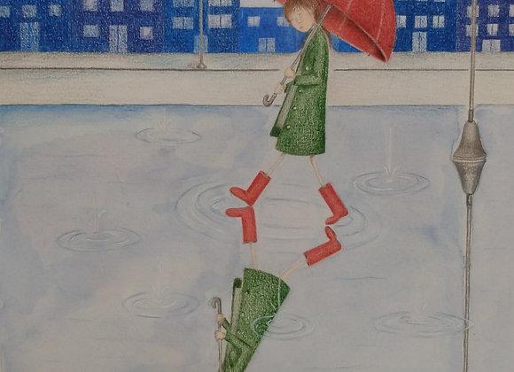 "Ilustração: ""Passeio na Chuva"""
