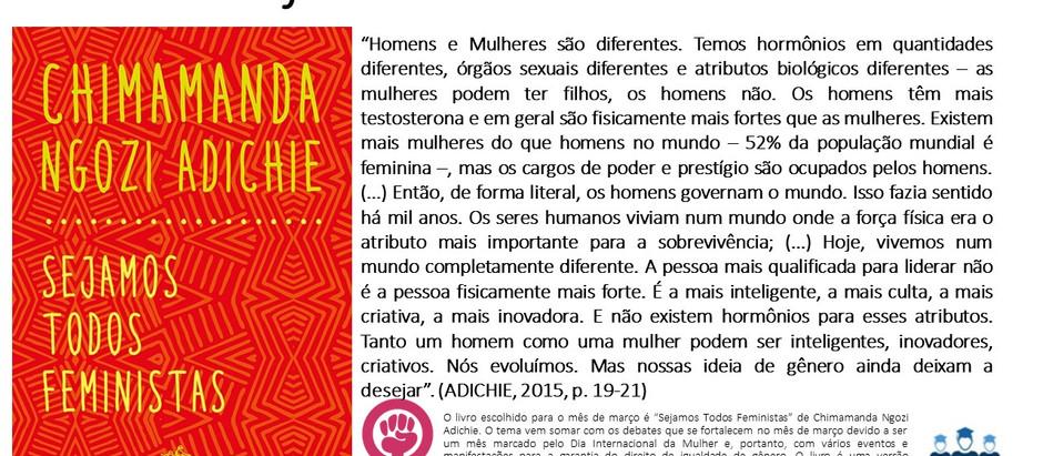 """Projeto """"Um Livro Por Mês""""#Março – """"Sejamos Todos Feministas"""" de Chimamanda Ngozi Adichie"""