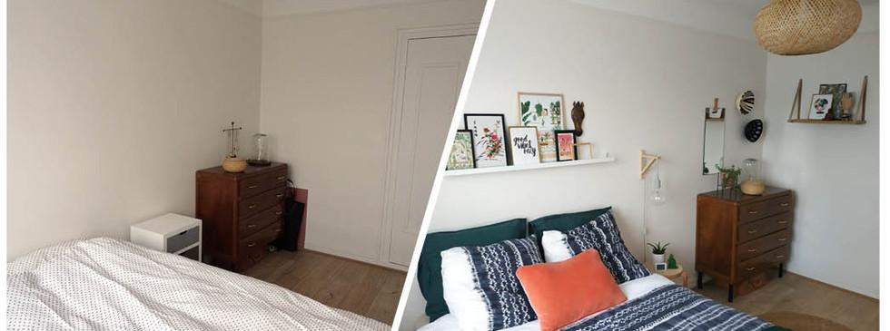 Home staging chambre avant/après