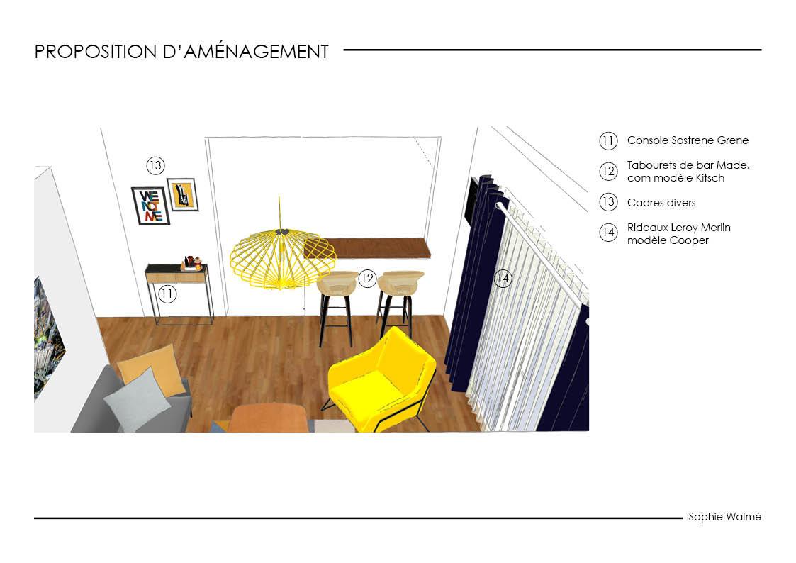 Aménagement salon 14,4m² proposition d'aménagement