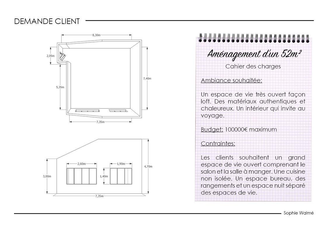 Aménagement studio 52m² demande client