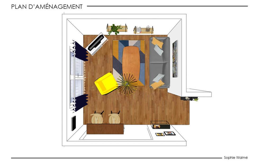Aménagement salon 14,4m² plan d'aménagement