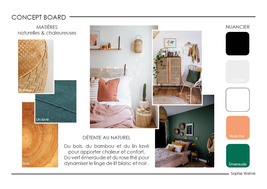 Home staging chambre concept board