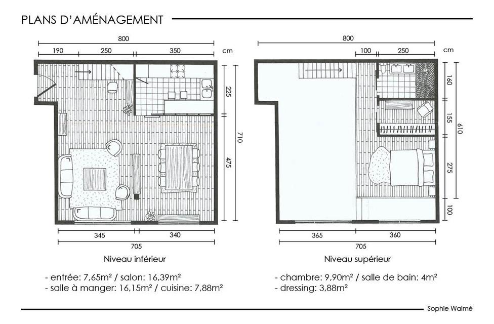 Aménagement studio 52m² plans d'aménagement