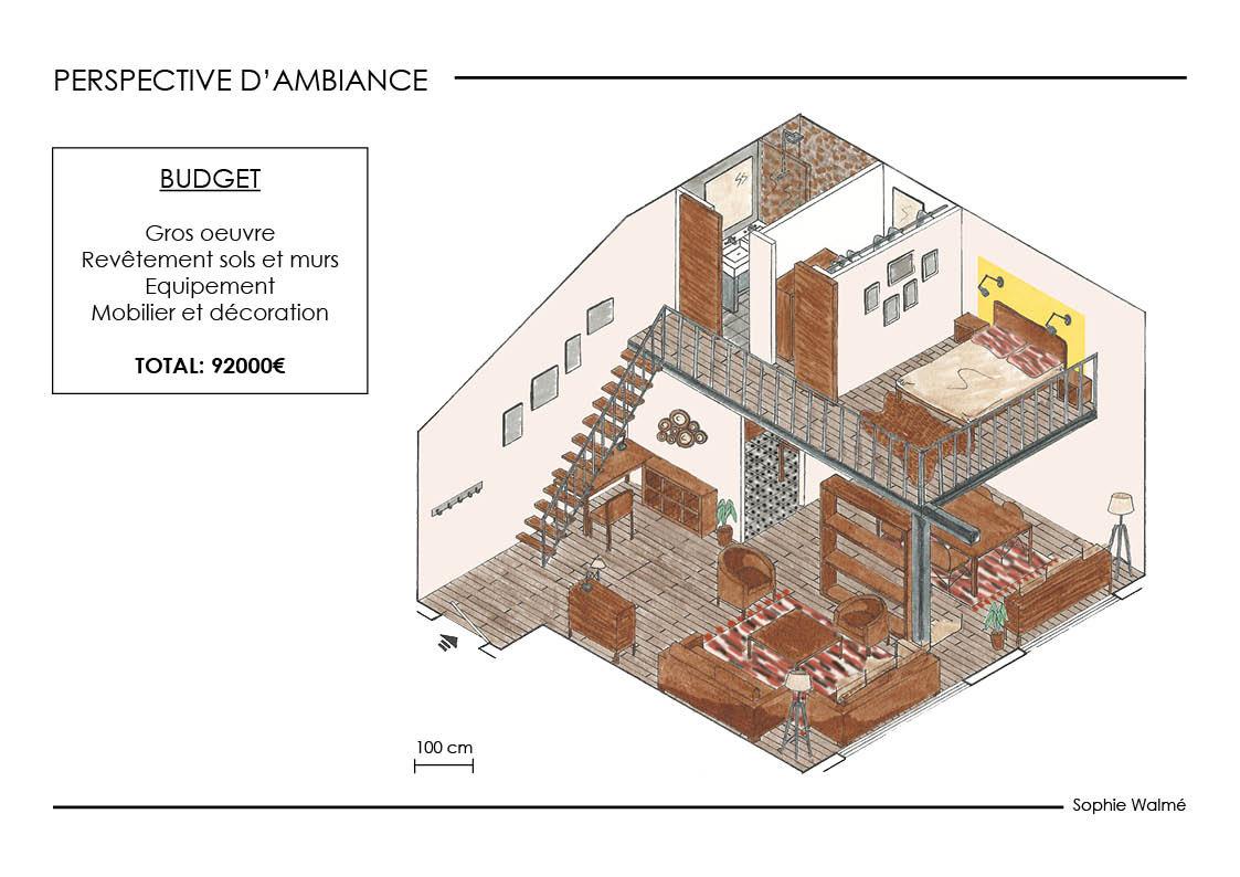 Aménagement studio 52m² perspective d'ambiance