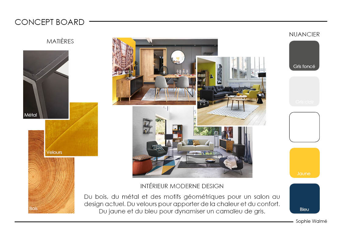 Aménagement salon 14,4m² concept board