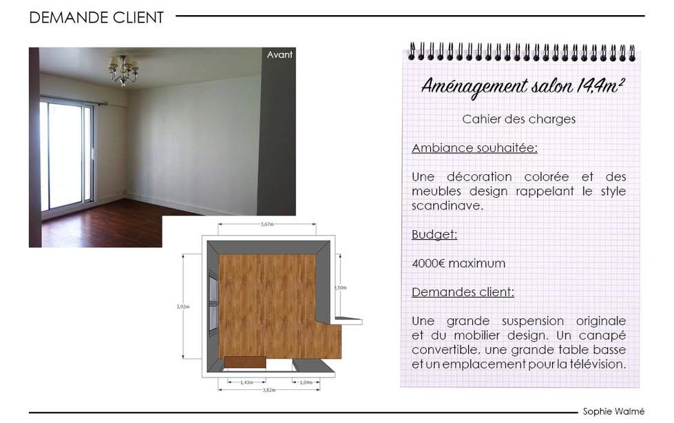 Aménagement salon 14,4m² demande client