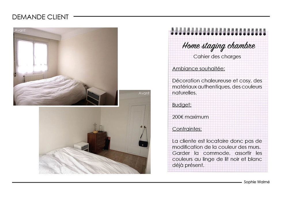Home staging chambre demande client