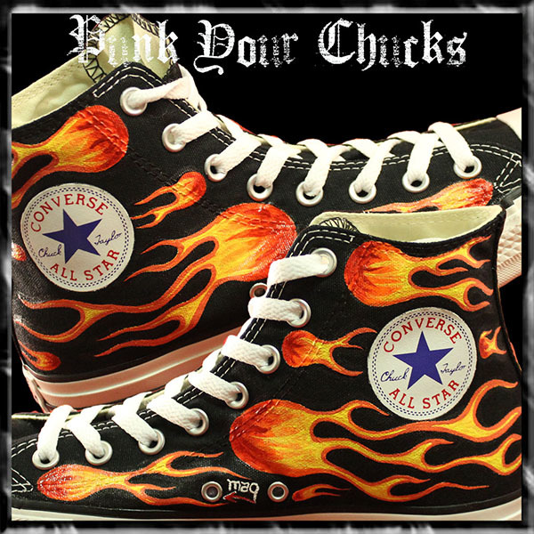 Biker Flames High Chucks insides