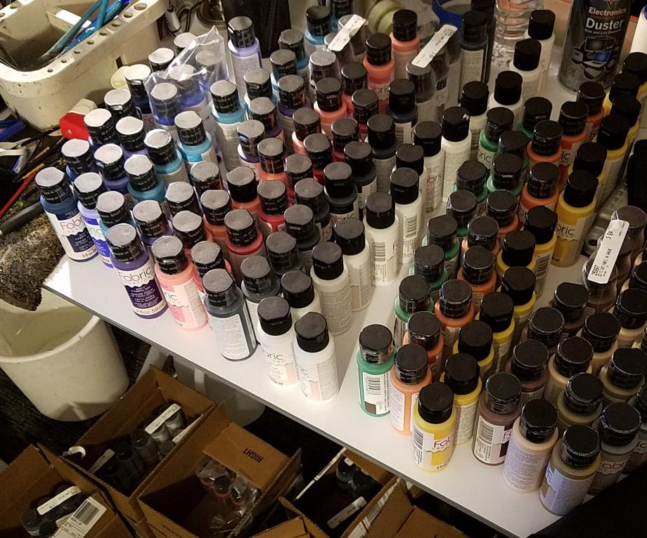 Organizing hundreds of Plaid Fabric Paints to be placed in the MAG Artworks/Punk Your Chucks DIY Customization Kits