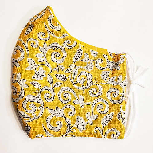 Yellow Swirls with Flowers