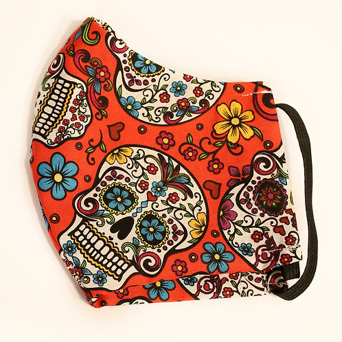 Day of the Dead Sugar Skulls on Red