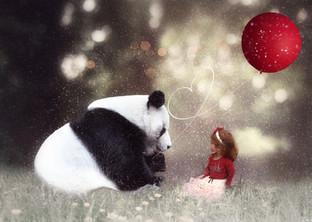 Little Girl Portrait with Panda Bear