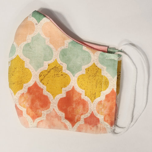Abstract Peach, Yellow and Teal Cotton Face Mask w/Elastic
