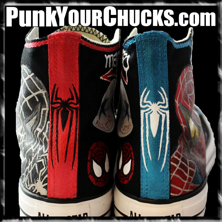Spiderman Design 4 High Chucks spines