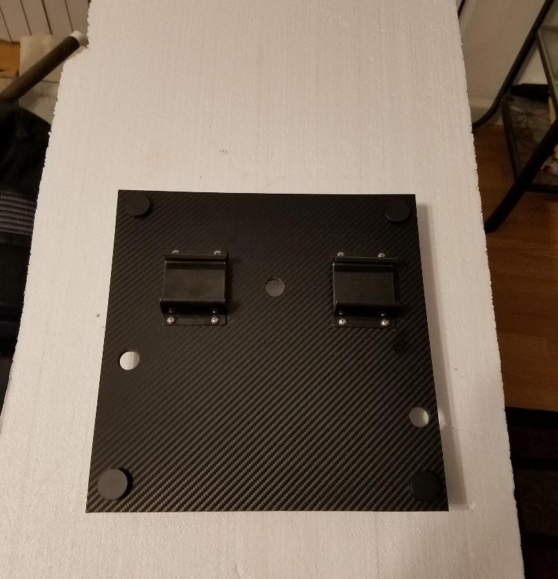The Rainforest Exhibit Control Panel.  ABS Plastic, drilled, and covered with Carbon Fiber(faux) Vinyl.Two Current Pro Module stands screwed into place.