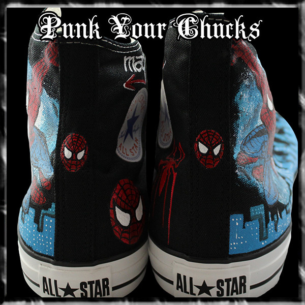 Spiderman Design 2 High Chucks spines