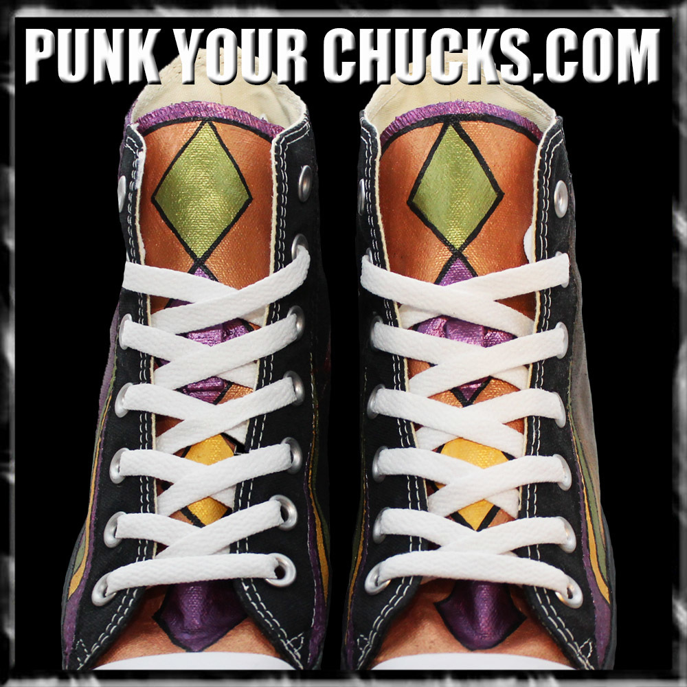 Mardi Gras High Chucks tongue