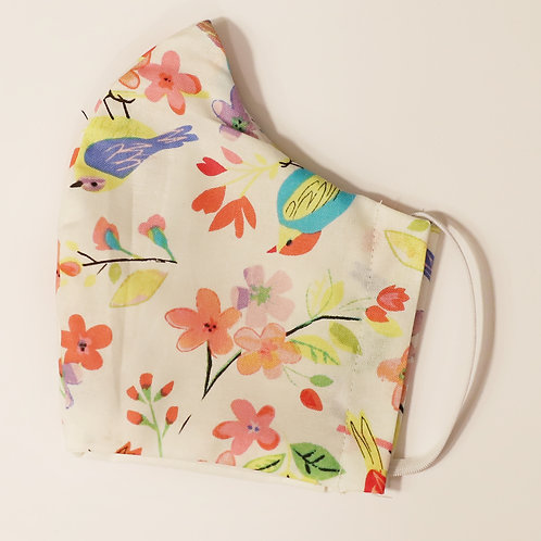 Birds and Flowers on White Cotton Face Mask w/Elastic
