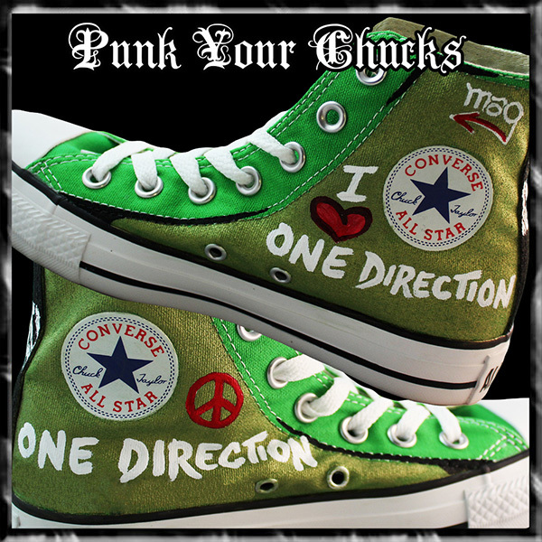 1D band Green high Chucks insides