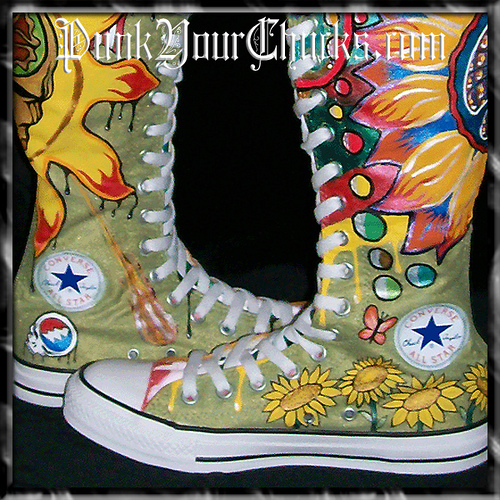 Grateful Dead KNEEHIGH Chucks insides lo
