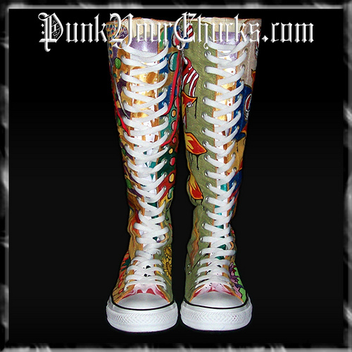 Grateful Dead KNEEHIGH Chucks Front LACE