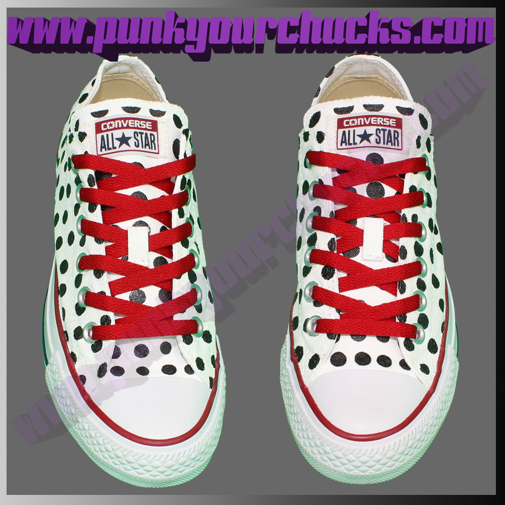 Polka Dot white Low Chucks full top